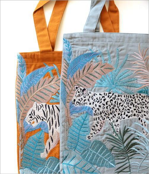 ジャングル刺繍のトートバッグ 2タイプ(2)