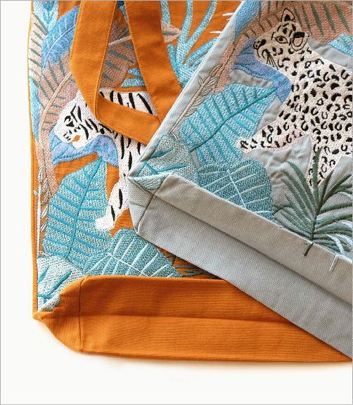 ジャングル刺繍のトートバッグ 2タイプ(4)
