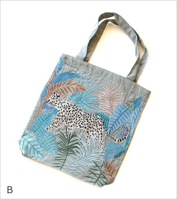 ジャングル刺繍のトートバッグ 2タイプ(7)