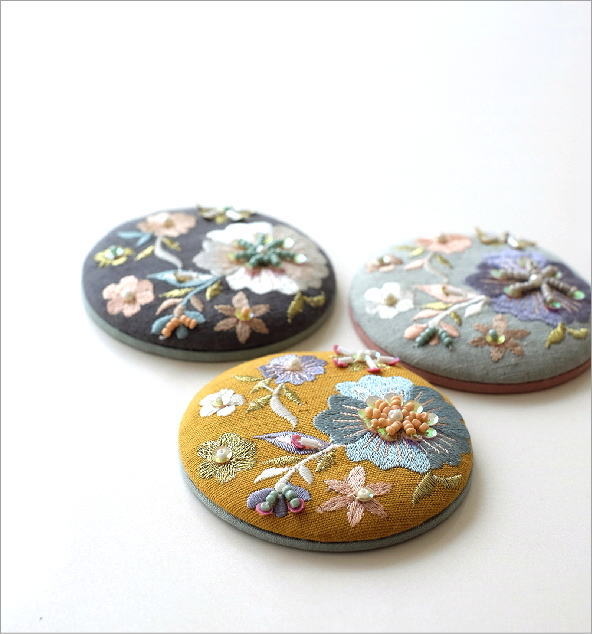 ビーズ刺繍ミニミラー 3カラー(1)