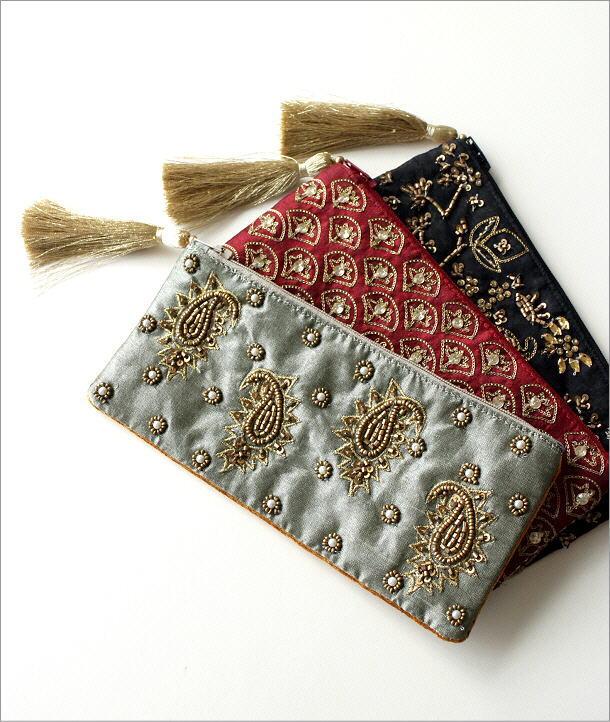 ビーズ刺繍横長ポーチ 3タイプ(1)