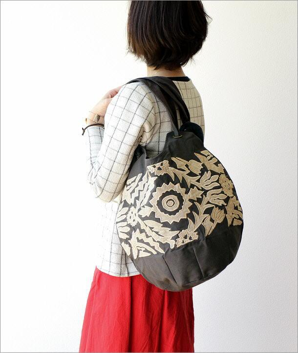 コットンアップリケ刺繍ショルダーバッグ GY(1)