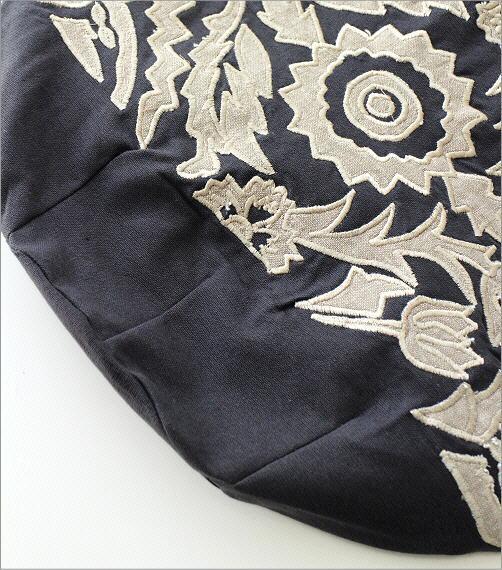 コットンアップリケ刺繍ショルダーバッグ GY(3)