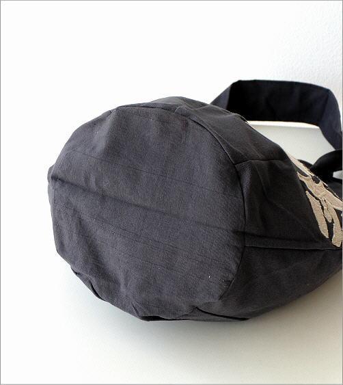 コットンアップリケ刺繍ショルダーバッグ GY(4)