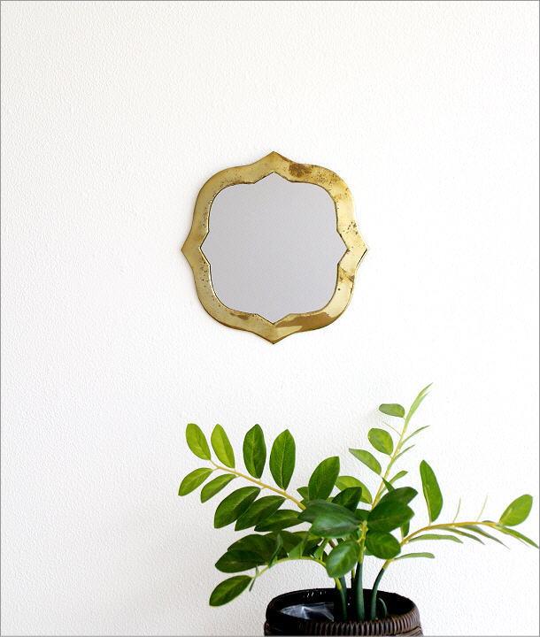 真鍮の壁掛けミラー ウェーブ(1)