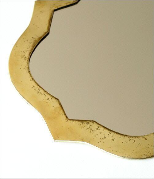 真鍮の壁掛けミラー ウェーブ(3)