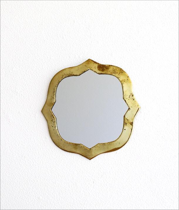 真鍮の壁掛けミラー ウェーブ(5)