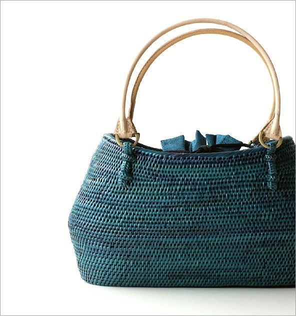 シンプル編みアタバッグ ターコイズ(1)