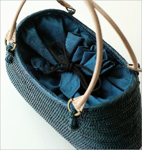 シンプル編みアタバッグ ターコイズ(2)