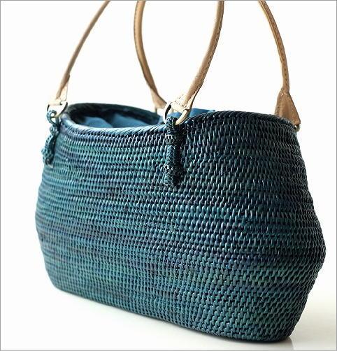 シンプル編みアタバッグ ターコイズ(3)