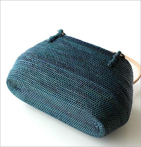 シンプル編みアタバッグ ターコイズ(4)