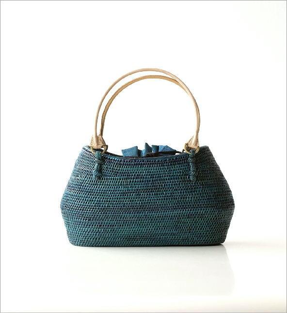シンプル編みアタバッグ ターコイズ(5)