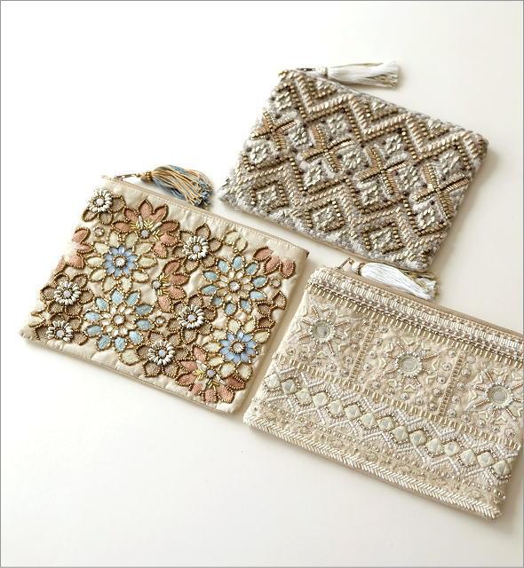 ビーズ刺繍フラットポーチ 3タイプ(1)
