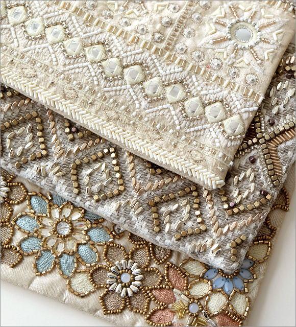 ビーズ刺繍フラットポーチ 3タイプ(2)