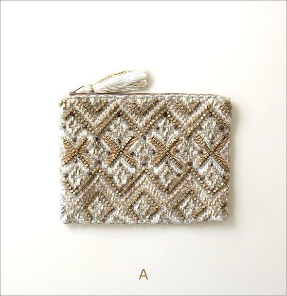 ビーズ刺繍フラットポーチ 3タイプ(4)