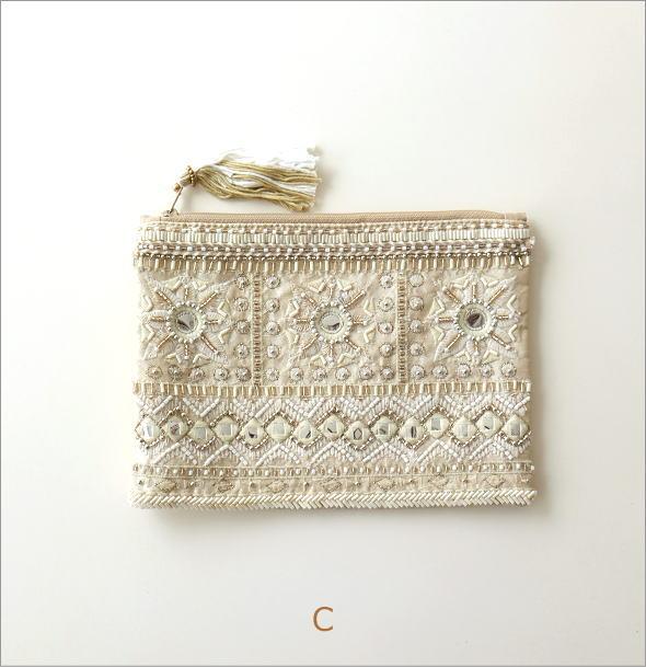 ビーズ刺繍フラットポーチ 3タイプ(6)