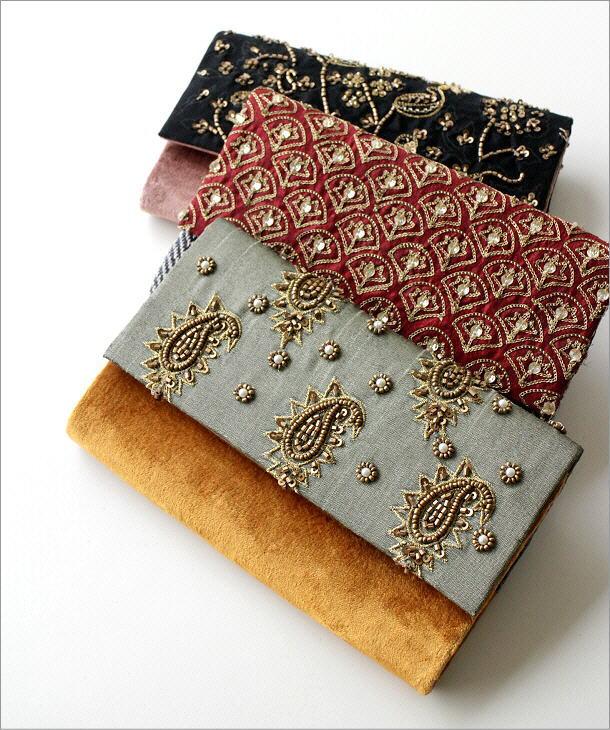 ビーズ刺繍クラッチバッグ 3タイプ(1)
