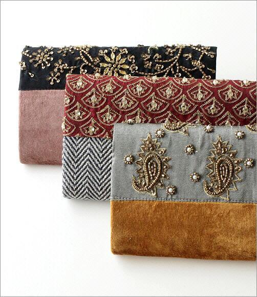 ビーズ刺繍クラッチバッグ 3タイプ(5)