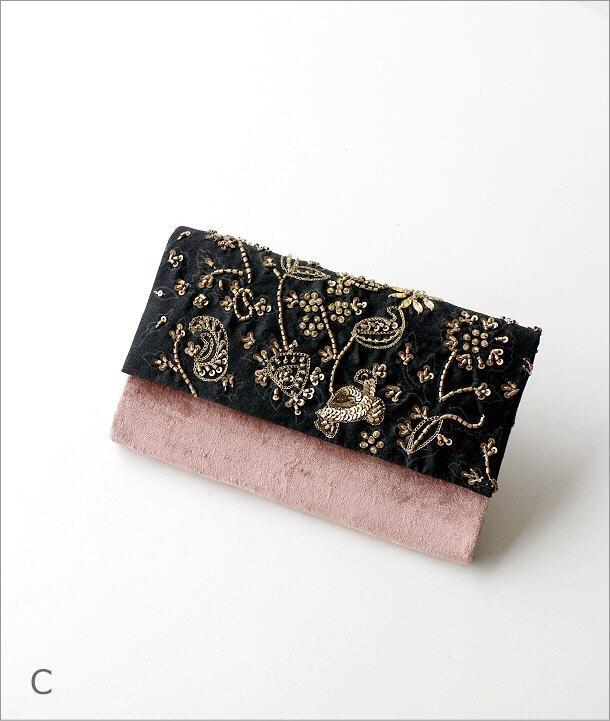 ビーズ刺繍クラッチバッグ 3タイプ(8)