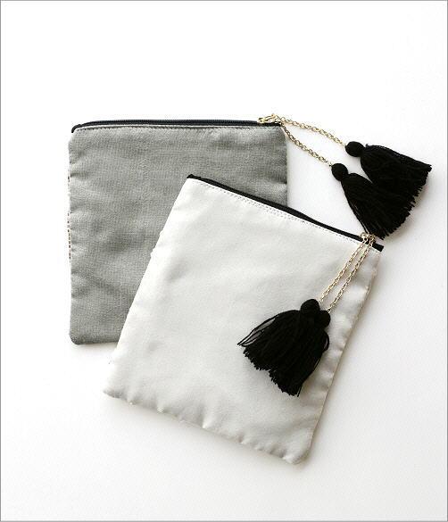 ビーズ刺繍スクエアポーチ2タイプ(4)