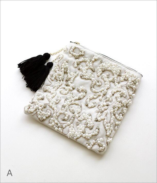 ビーズ刺繍スクエアポーチ2タイプ(5)
