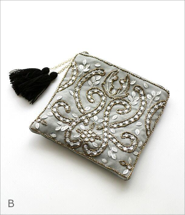 ビーズ刺繍スクエアポーチ2タイプ(6)
