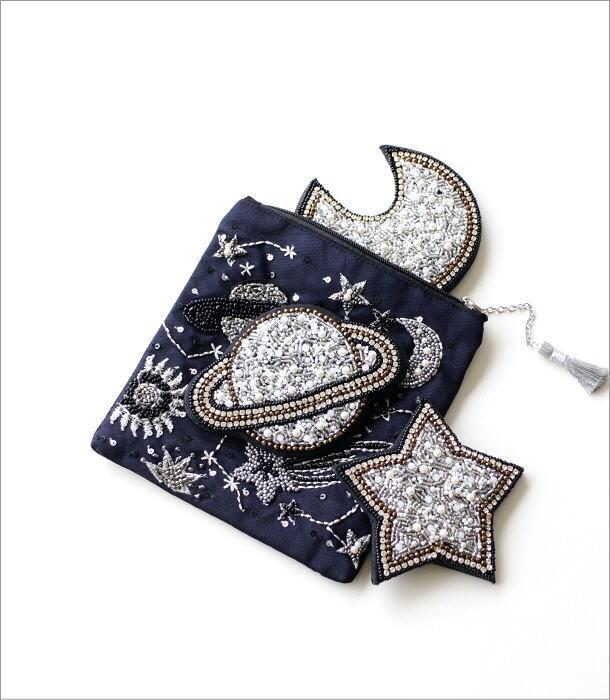 ビーズ刺繍ハンドミラー 宇宙3タイプ(4)