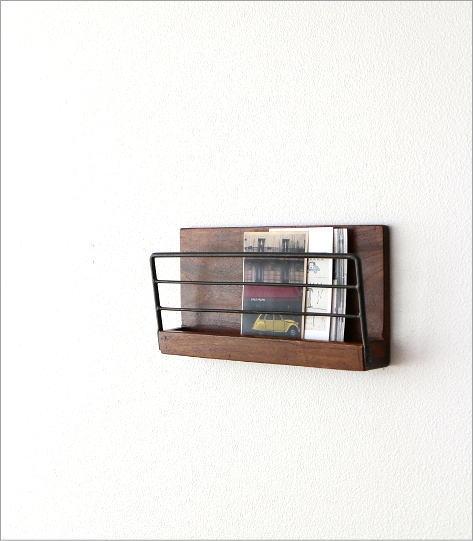 アイアンとウッドの壁掛けラック S(1)