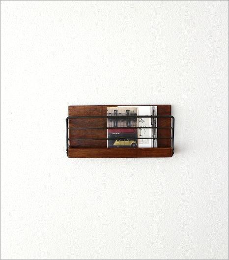 アイアンとウッドの壁掛けラック S(6)