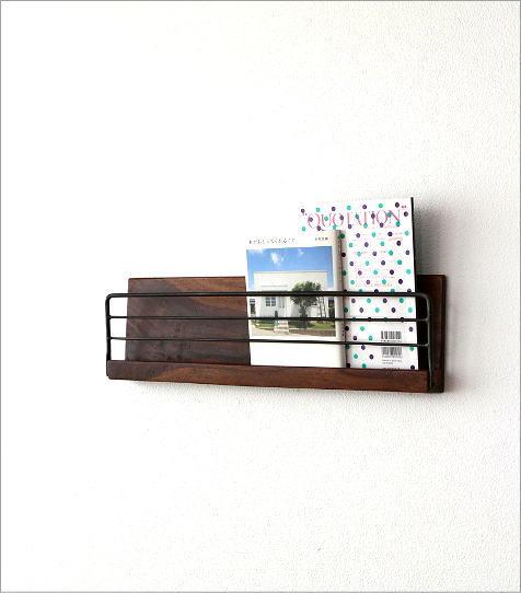 アイアンとウッドの壁掛けラック L(1)