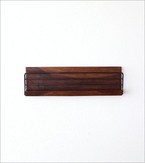 アイアンとウッドの壁掛けラック L(2)