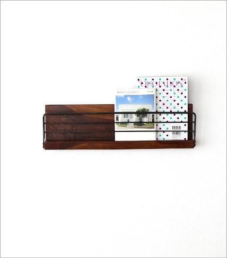 アイアンとウッドの壁掛けラック L(6)