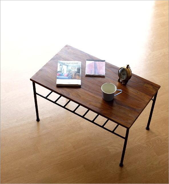 シーシャムウッドとアイアンのローテーブル(4)