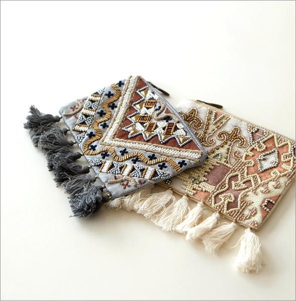 ビーズ刺繍フリンジポーチS 2タイプ(1)
