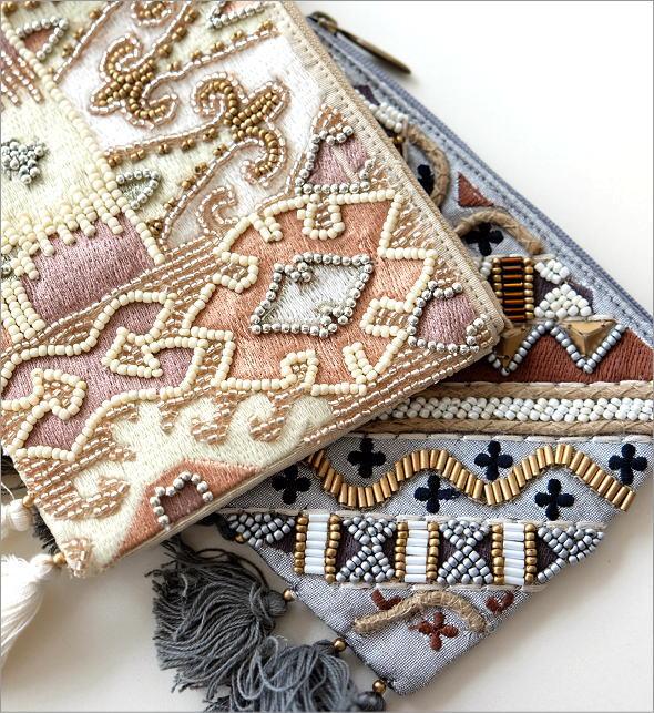 ビーズ刺繍フリンジポーチS 2タイプ(2)