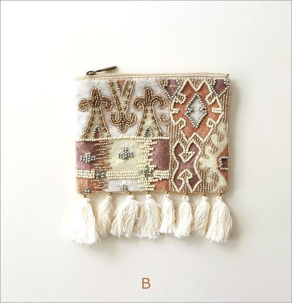 ビーズ刺繍フリンジポーチS 2タイプ(5)