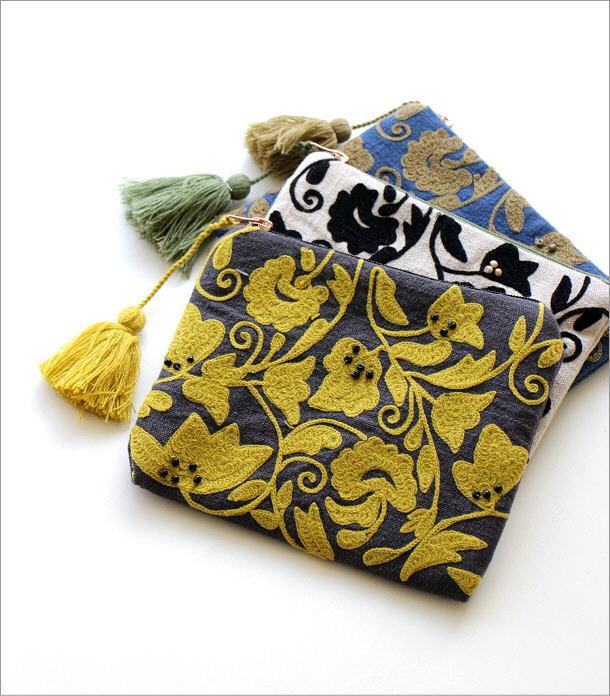 刺繍コットンポーチ 3カラー(1)