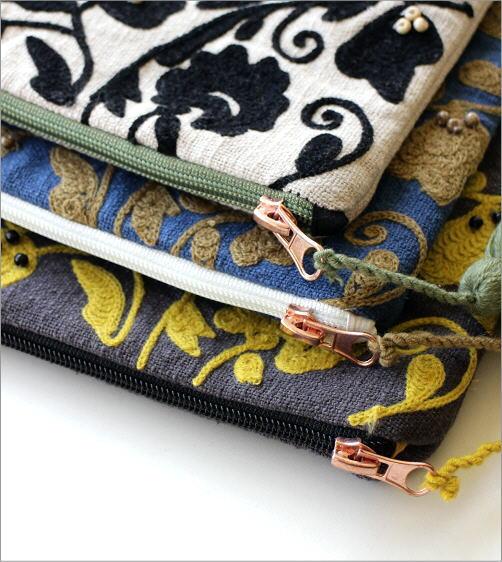 刺繍コットンポーチ 3カラー(2)
