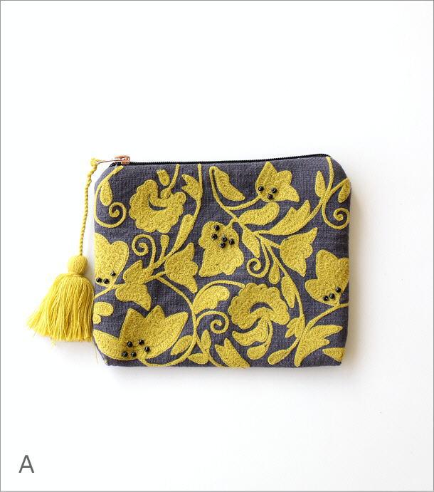 刺繍コットンポーチ 3カラー(5)