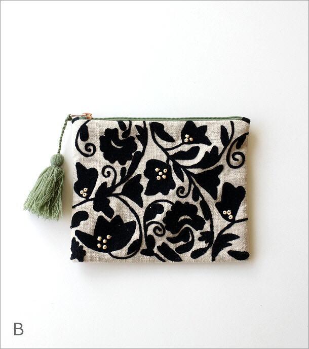 刺繍コットンポーチ 3カラー(6)