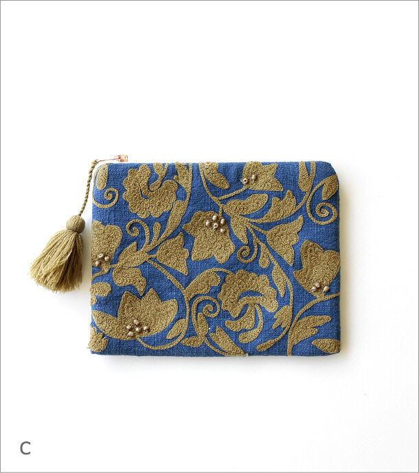 刺繍コットンポーチ 3カラー(7)