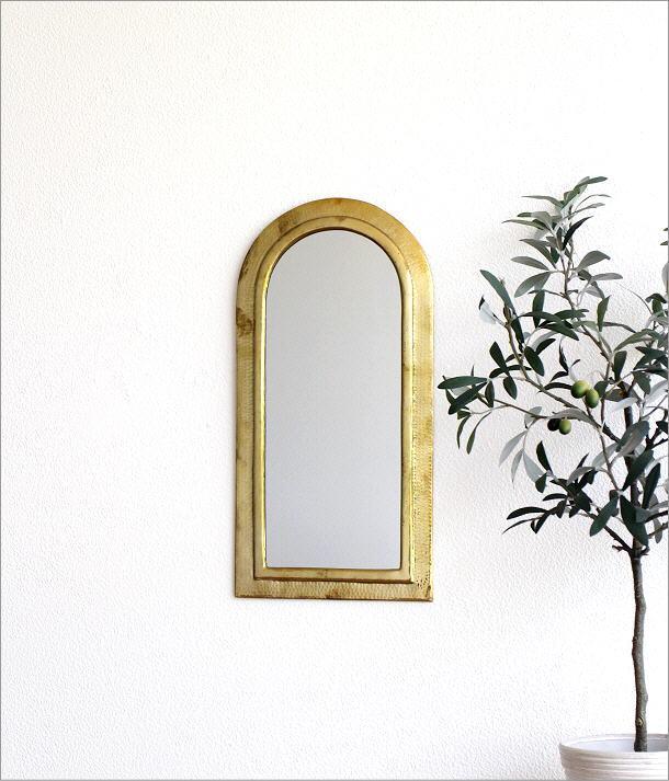 真鍮の壁掛けミラー アーチ(1)