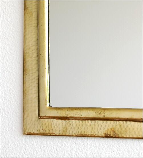 真鍮の壁掛けミラー アーチ(3)