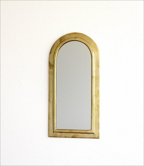 真鍮の壁掛けミラー アーチ(5)