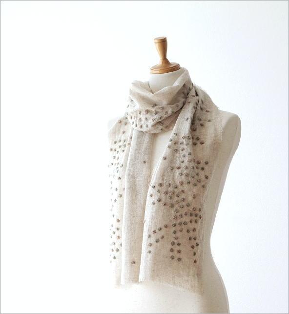 ウールコットンドット刺繍ミニショール(1)