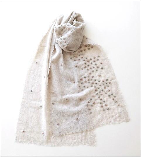 ウールコットンドット刺繍ミニショール(2)
