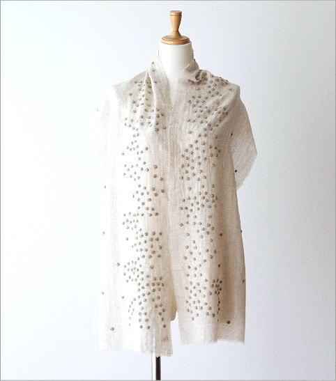 ウールコットンドット刺繍ミニショール(4)
