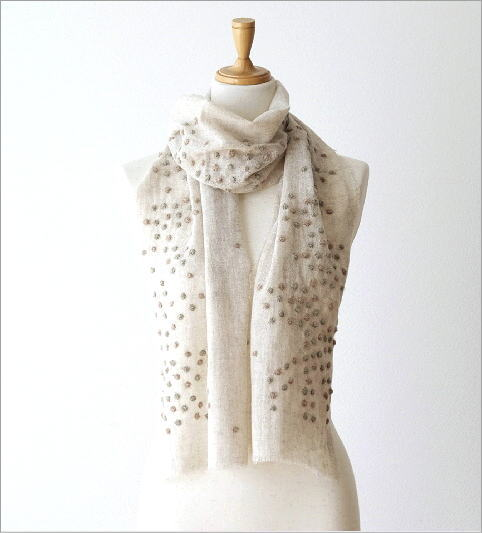 ウールコットンドット刺繍ミニショール(5)