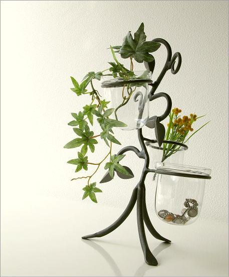 花瓶 フラワーベース アイアンとガラスの3ポットベース(1)