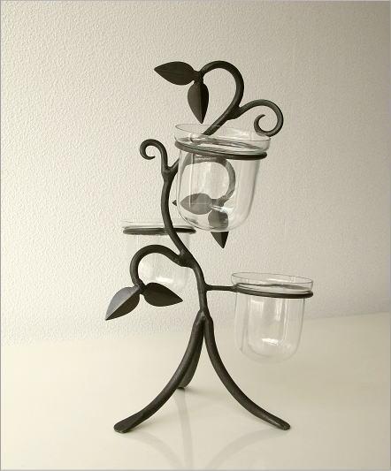 花瓶 フラワーベース アイアンとガラスの3ポットベース(4)